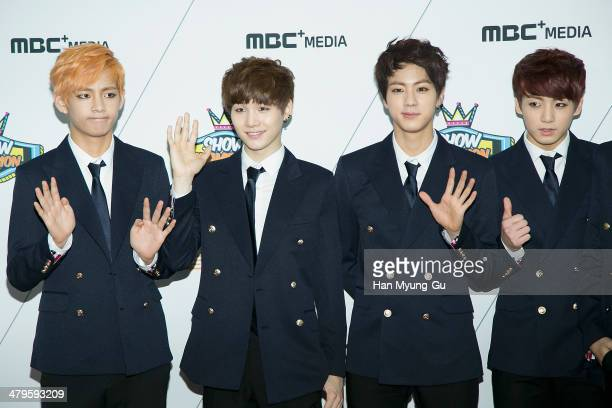 Members of South Korean boy band BTS attend MBC Music 'Show Champion' on March 19 2014 in Ilsan South Korea