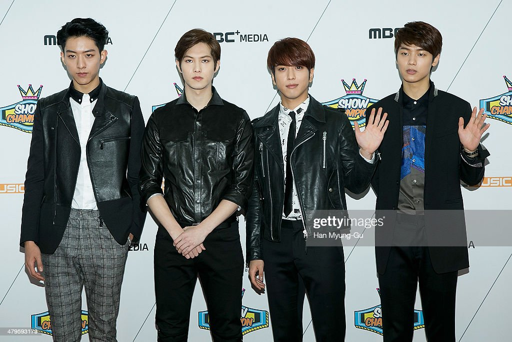 Members of South Korean boy band CNBLUE attend MBC Music 'Show Champion' on March 19, 2014 in Ilsan, South Korea.