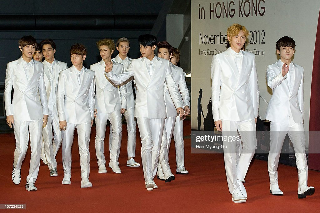 Members of South Korean boy band EXO-K and EXO-M attend during the 2012 Mnet Asian Music Awards Red Carpet on November 30, 2012 in Hong Kong, Hong Kong.