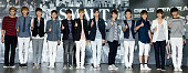 Members of South Korean boy band EXOK and EXOM attend during the 'SMART Exhibition' opening ceremony held at Coex on August 09 2012 in Seoul South...