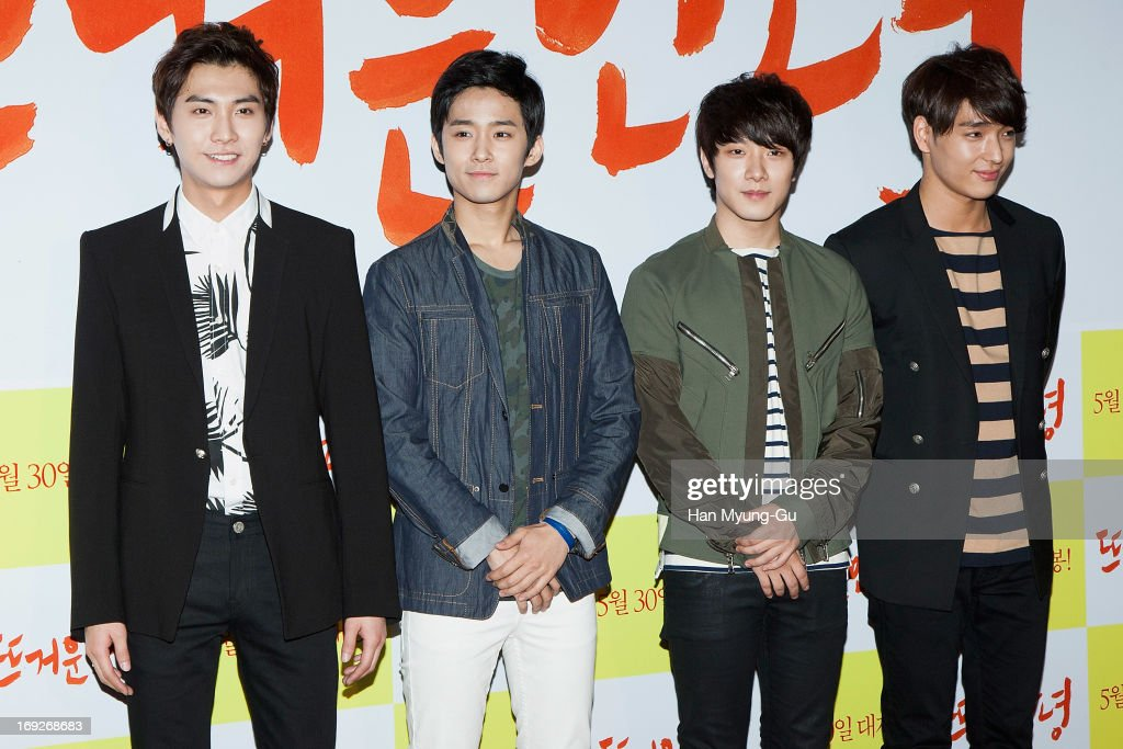 Members of South Korean boy band FTisland attend the 'Rockin' On Heaven's Door' VIP Screening at Lotte Cinema on May 21 2013 in Seoul South Korea The...