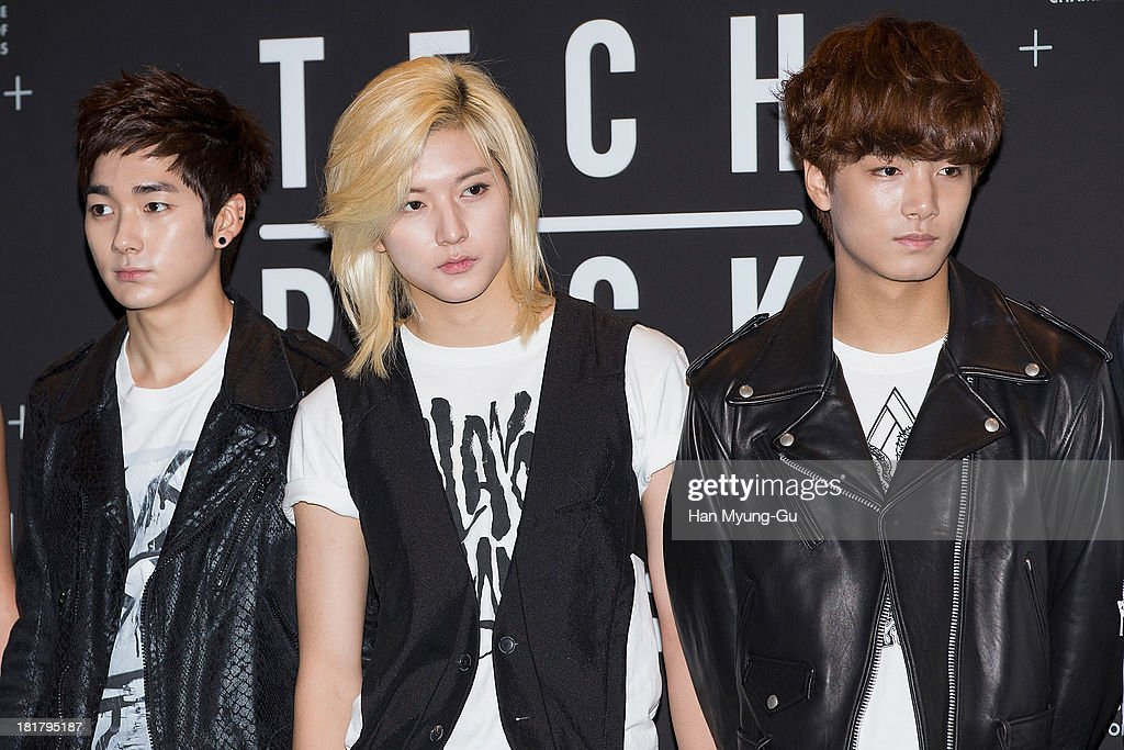 Members of South Korean boy band NU'EST attend a promotional event for the NIKE 'Tech Pack' Showcase at Shilla Hotel on September 24, 2013 in Seoul, South Korea.