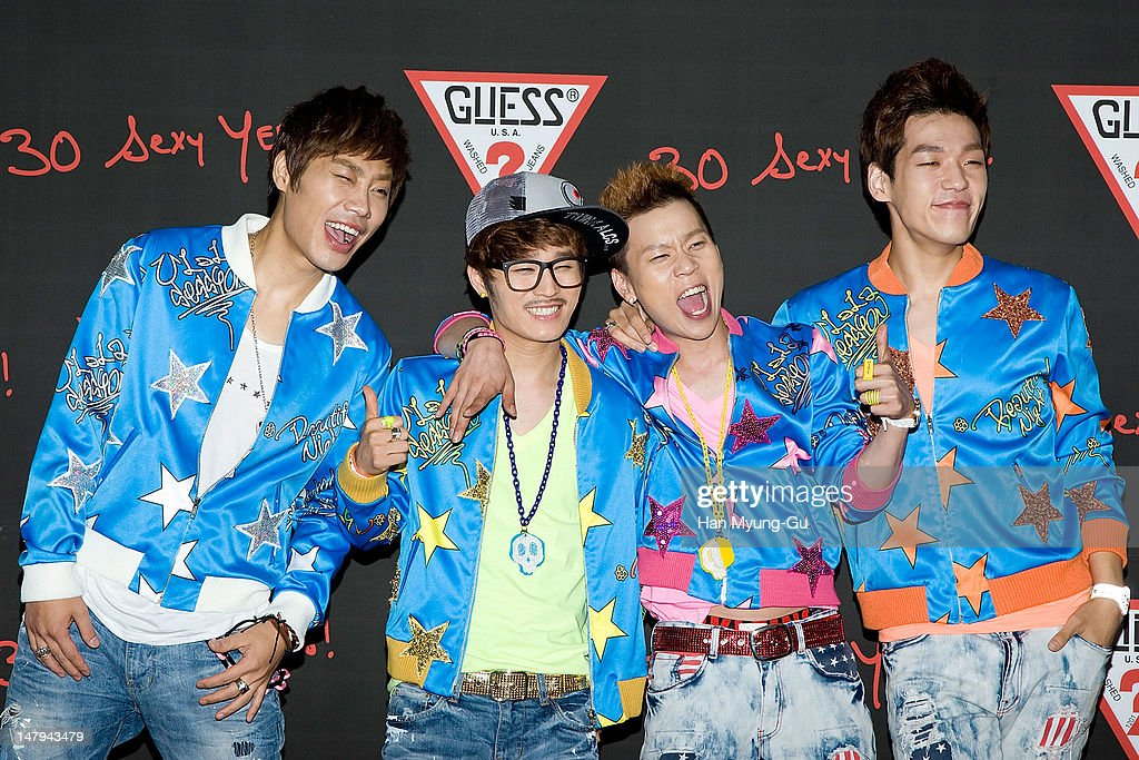 Members of South Korean boy band Ulala Session poses for media at the Guess 30th anniversary concert named 'Guess Party' on July 6, 2012 in Seoul, South Korea.