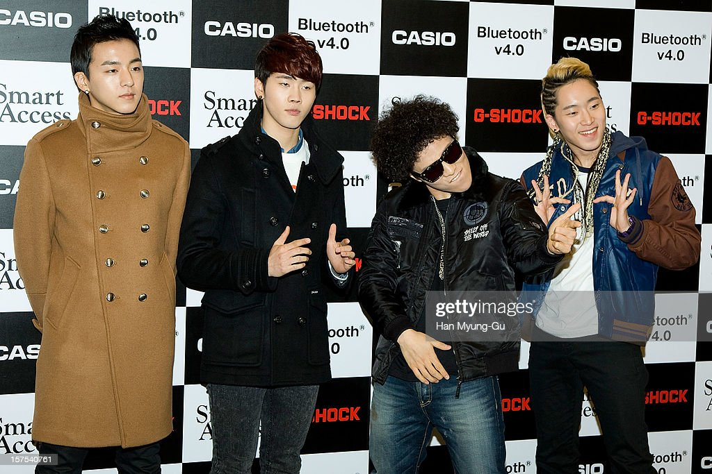Members of South Korean boy band Wonder Boyz attend during the promotional event of 'Evolution of CASIO 2013' at Novotel Ambassador Gangnam on December 4, 2012 in Seoul, South Korea.