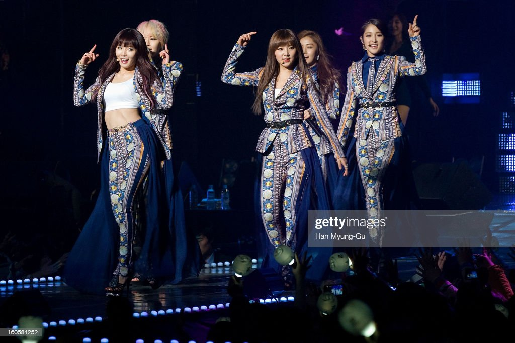 Members of South Korean girl group 4minute perform onstage during the 2013 United Cube Concert at Jamsil Stadium on February 2, 2013 in Seoul, South Korea.