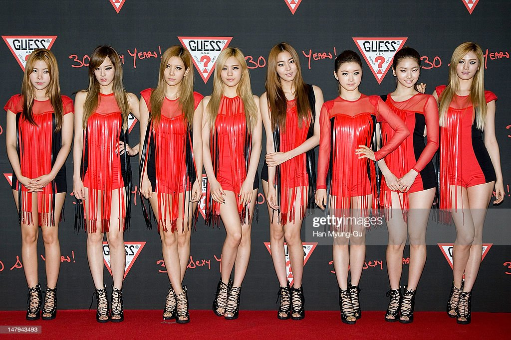 Members of South Korean girl group After School poses for media at the Guess 30th anniversary concert named 'Guess Party' on July 6, 2012 in Seoul, South Korea.
