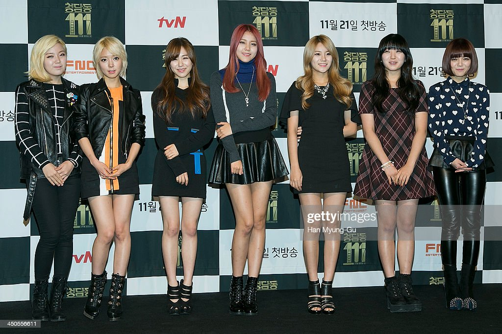 Members of South Korean girl group AOA attend tvN Drama 'Cheongdamdong 111' press conference at CGV on November 18, 2013 in Seoul, South Korea. The drama will open on November 21, in South Korea.