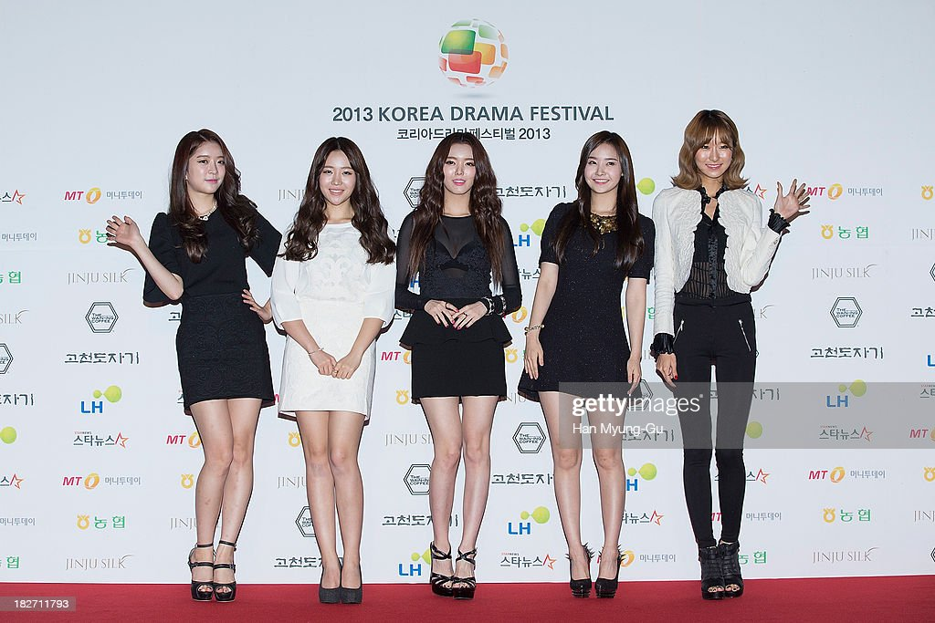 Members of South Korean girl group Dal Shabet arrive for photographs at 2013 Korea Drama Awards at Jinju Arena on October 02, 2013 in Jinju, South Korea.