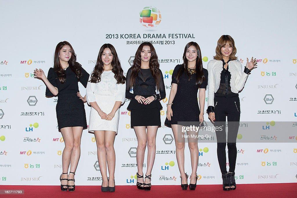 Members of South Korean girl group Dal Shabet arrive for photographs at 2013 Korea Drama Awards at Jinju Arena on October 02 2013 in Jinju South Korea