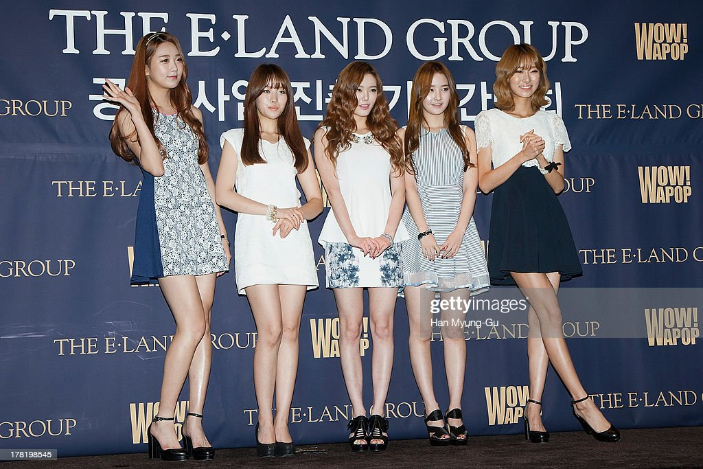 Members of South Korean girl group Dal Shabet attend during the E-Land Group press conference at the Lexington Hotel on August 27, 2013 in Seoul, South Korea. E-Land group announced today that it will start its entertainment business by making 'Hallyu' related content with 40 Korean management firms. The E-Land group said its 'WAPOP' project will offer an entirely new genre of 'Hallyu' by combining multiple contents.