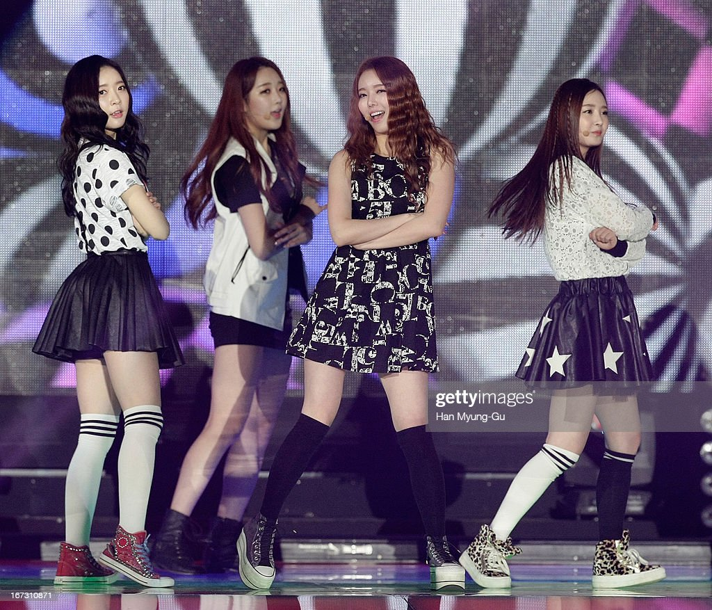 Members of South Korean girl group Dal Shabet perform onstage during day two of the K-Pop Collection at Olympic Gymnasium on April 21, 2013 in Seoul, South Korea.