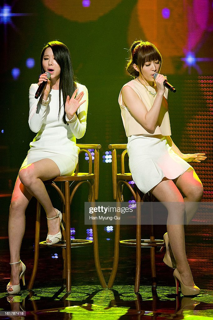 Members of South Korean girl group Dasoni perform onstage during the Mnet 'M CountDown' at CJ E&M Building on February 14, 2013 in Seoul, South Korea.