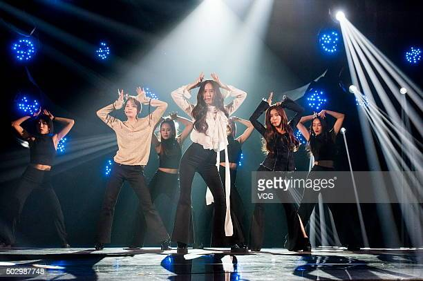 Members of South Korean girl group f perform on the stage during the China Central Television new year gala on December 31 2015 in Beijing China