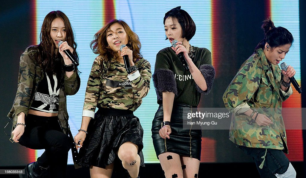 Members of South Korean girl group f(x) perform onstage during the 1st K-Drama Star Awards at Daejeon Convention Center on December 8, 2012 in Daejeon, South Korea.