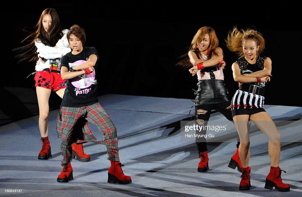 Members of South Korean girl group f(x) perform onstage during the SMTown Live World Tour III on August 18, 2012 in Seoul, South Korea.
