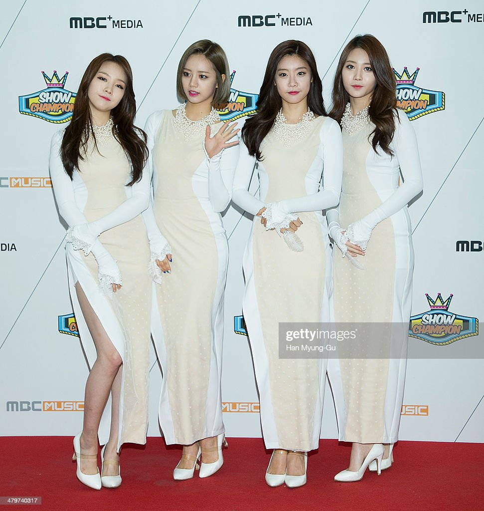 Members of South Korean girl group Girl's Day (Girls Day) attend MBC Music 'Show Champion' on March 19, 2014 in Ilsan, South Korea.