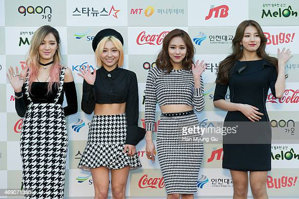 Members of South Korean girl group Miss A attend 3rd Gaon Chart KPop Awards at Olympic Gym on February 12 2014 in Seoul South Korea