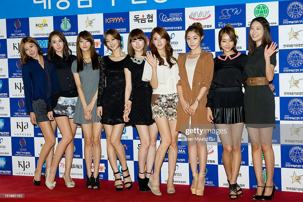 Members of South Korean girl group Nine Muses (9 Muses) arrives the launch event of 'Popular Music Promotion Committee' on September 12, 2012 in Seoul, South Korea.