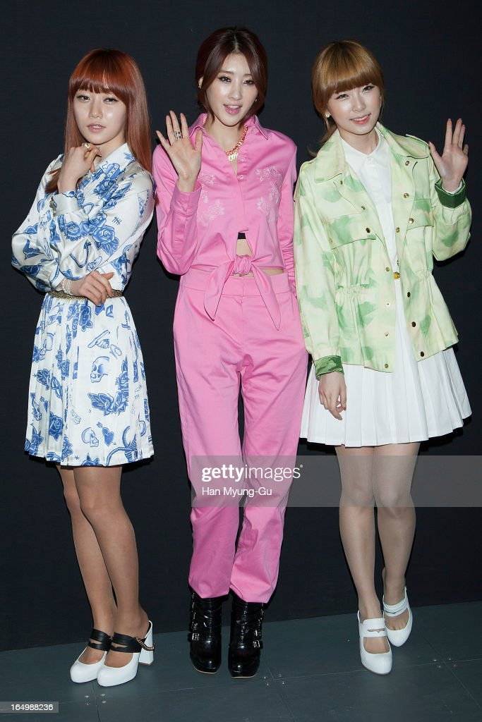 Members of South Korean girl group Nine Muses (9 Muses) attend the 'KYE' show on day four of the Seoul Fashion Week F/W 2013 at IFC Seoul on March 28, 2013 in Seoul, South Korea.