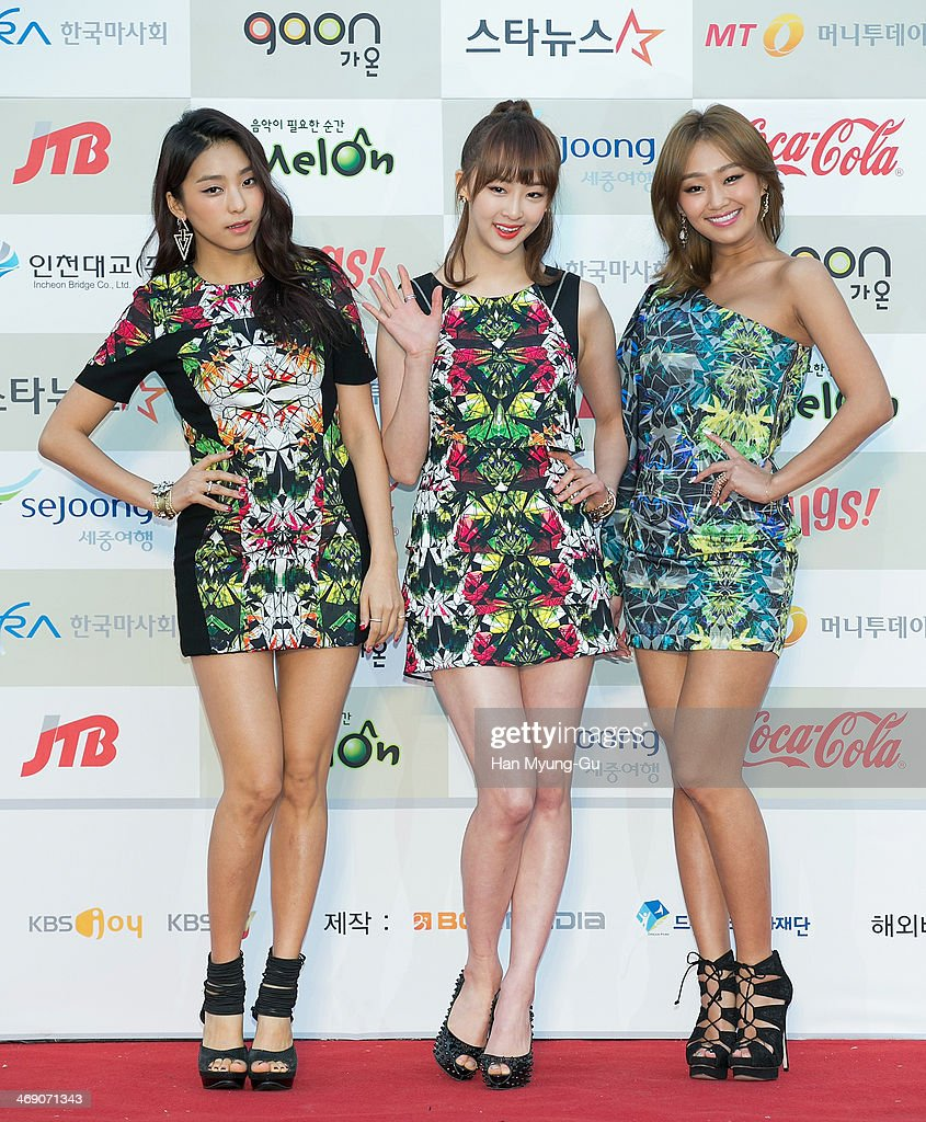 Members of South Korean girl group SISTAR attend 3rd Gaon Chart KPop Awards at Olympic Gym on February 12 2014 in Seoul South Korea