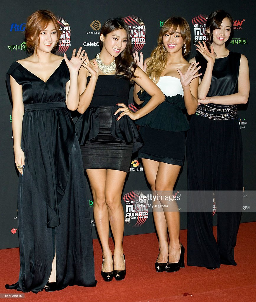 Members of South Korean girl group SISTAR attend during the 2012 Mnet Asian Music Awards Red Carpet on November 30 2012 in Hong Kong Hong Kong