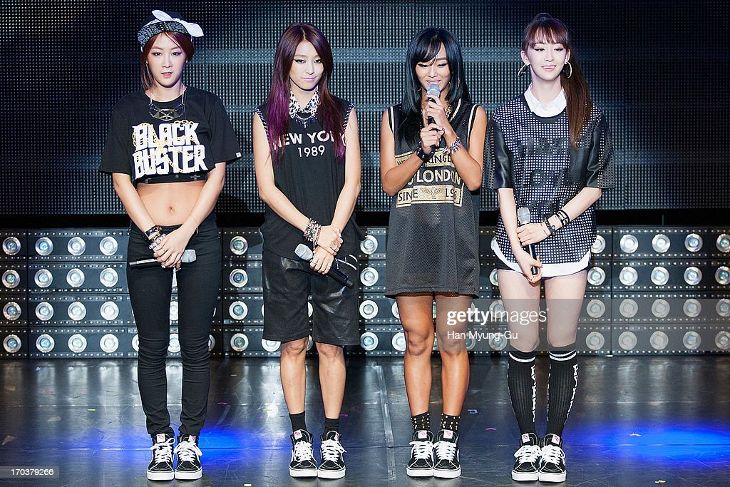 Members of South Korean girl group SISTAR attend during the SISTAR 2nd Album 'Give It To Me' Showcase at Lotte Card Art Hall on June 11, 2013 in Seoul, South Korea.