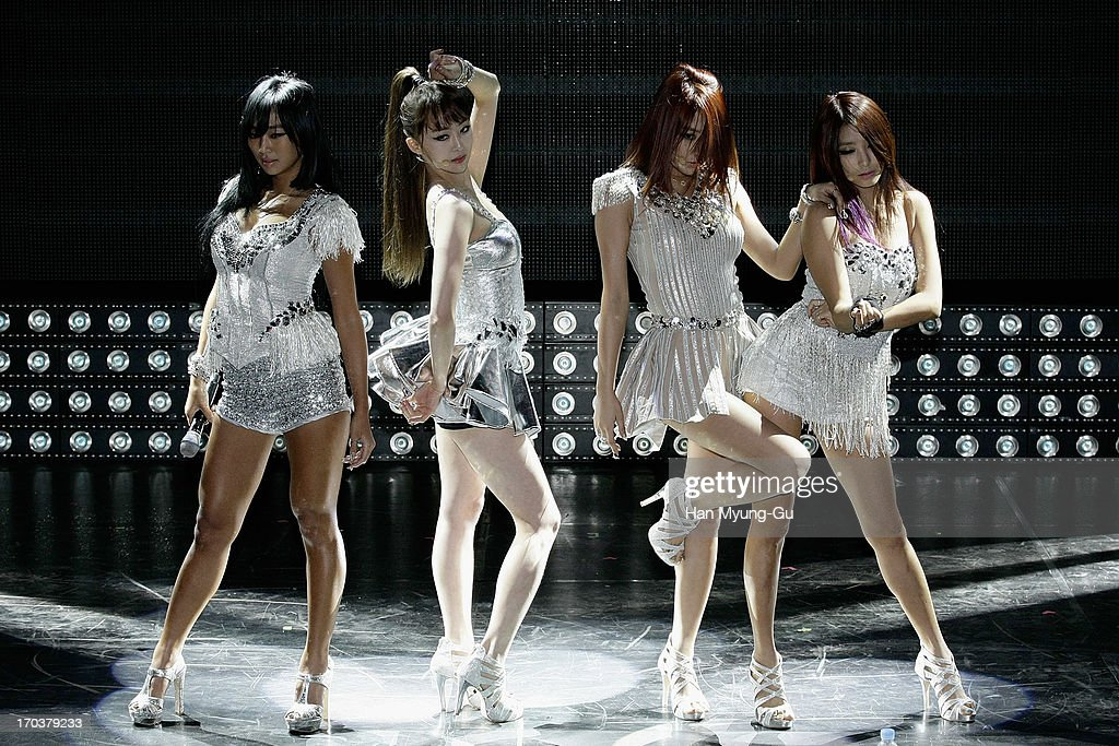 Members of South Korean girl group SISTAR perform onstage during the SISTAR 2nd Album 'Give It To Me' Showcase at Lotte Card Art Hall on June 11, 2013 in Seoul, South Korea.