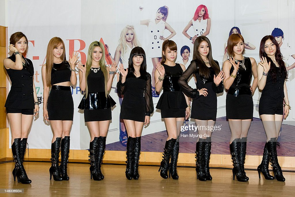Members of South Korean girl group <a gi-track='captionPersonalityLinkClicked' href=/galleries/search?phrase=T-ara&family=editorial&specificpeople=7413351 ng-click='$event.stopPropagation()'>T-ara</a> pose for media after a press conference to promote their 6th mini album named 'Day by Day' at Kyung Hee University on July 14, 2012 in Seoul, South Korea.