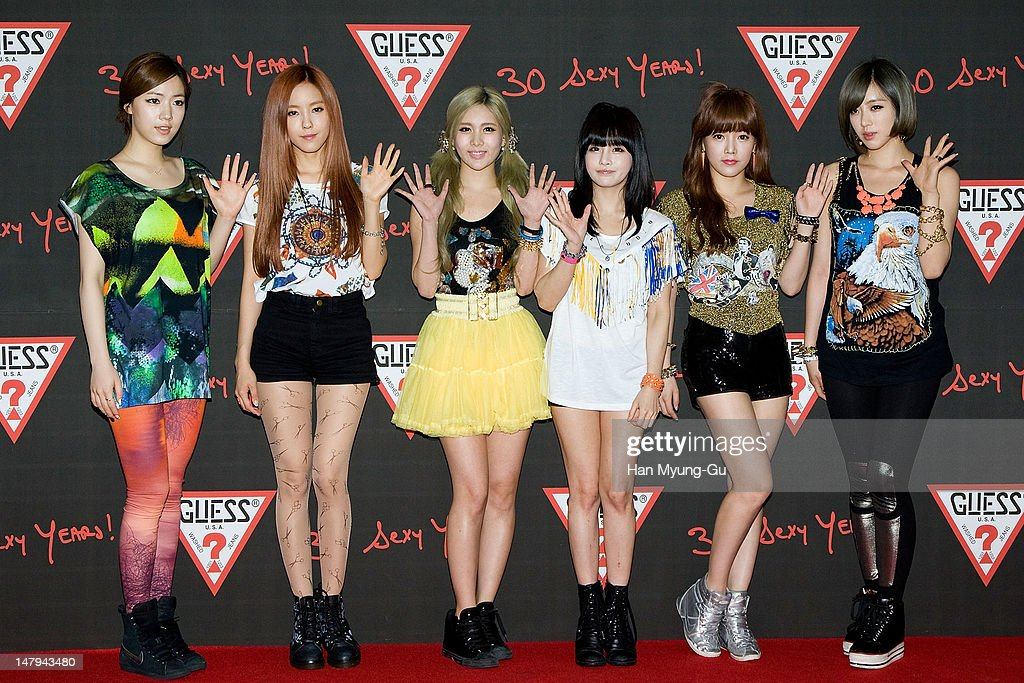 Members of South Korean girl group T-ara poses for media at the Guess 30th anniversary concert named 'Guess Party' on July 6, 2012 in Seoul, South Korea.