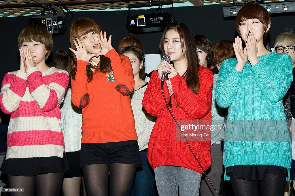 Members of South Korean girl group The Seeya pose for media during at the Core Contents Media Artists New Year's Day Charity Event at Gibalhan Chicken Store on February 9, 2013 in Bucheon, South Korea.