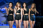 Members of South Korean girl group Wonder Girls attend the press showcase for their Third Album 'ReBoot' on August 3 2015 in Seoul South Korea