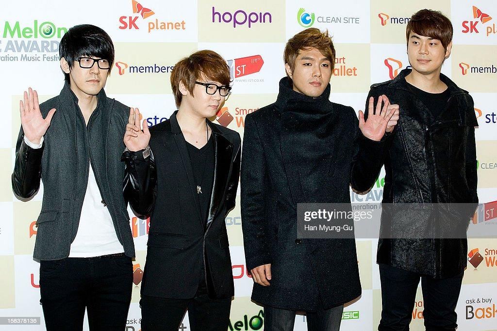 Members of South Korean rock band Nell arrive at the 2012 Melon Music Awards at Olympic Gymnasium on December 14, 2012 in Seoul, South Korea.