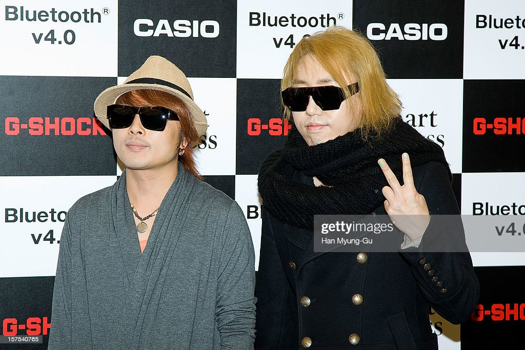 Members of South Korean rock band Pia attend during the promotional event of 'Evolution of CASIO 2013' at Novotel Ambassador Gangnam on December 4, 2012 in Seoul, South Korea.