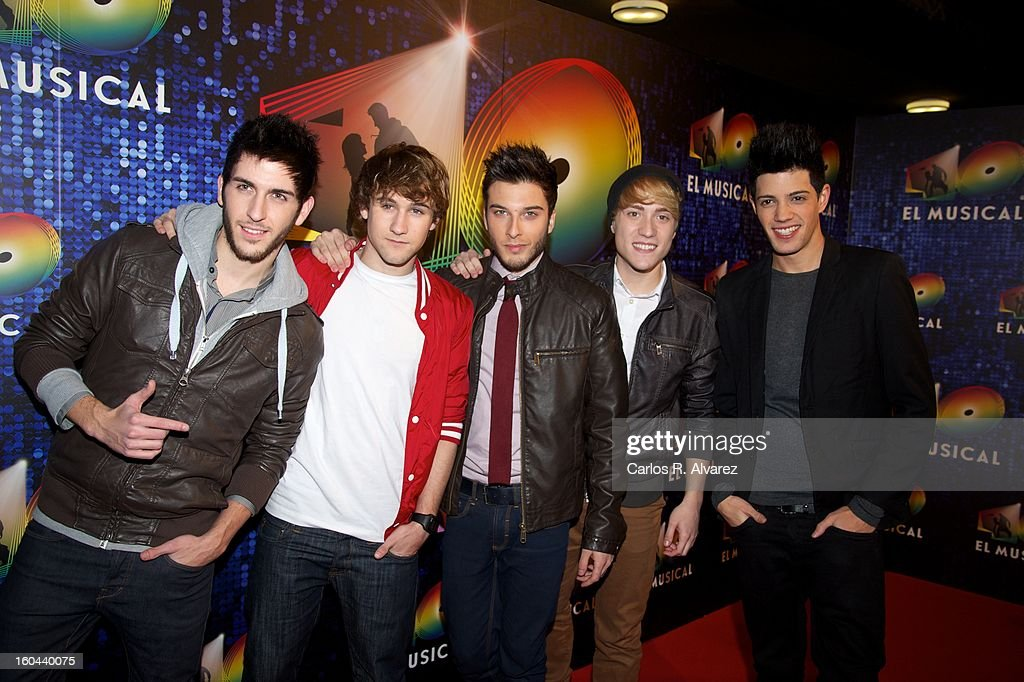 Members of Spanish pop band 'Auryn' attend '40 El Musical' premiere at the Rialto Theater on January 31, 2013 in Madrid, Spain.