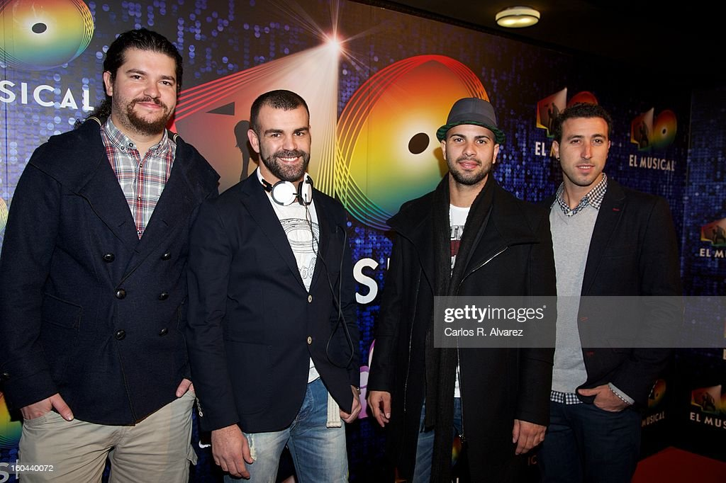 Members of Spanish pop band 'Efecto Pasillo' attend '40 El Musical' premiere at the Rialto Theater on January 31, 2013 in Madrid, Spain.