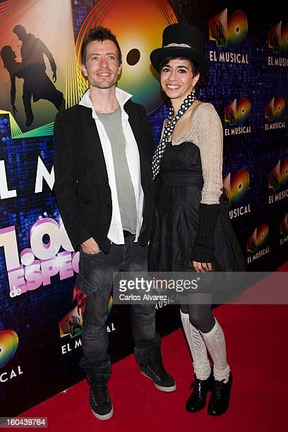 Members of Spanish pop band 'Lagarto Amarillo' attend '40 El Musical' premiere at the Rialto Theater on January 31 2013 in Madrid Spain