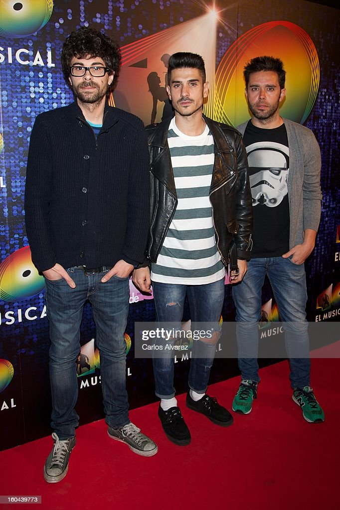Members of Spanish pop band 'Pignoise' attend '40 El Musical' premiere at the Rialto Theater on January 31, 2013 in Madrid, Spain.