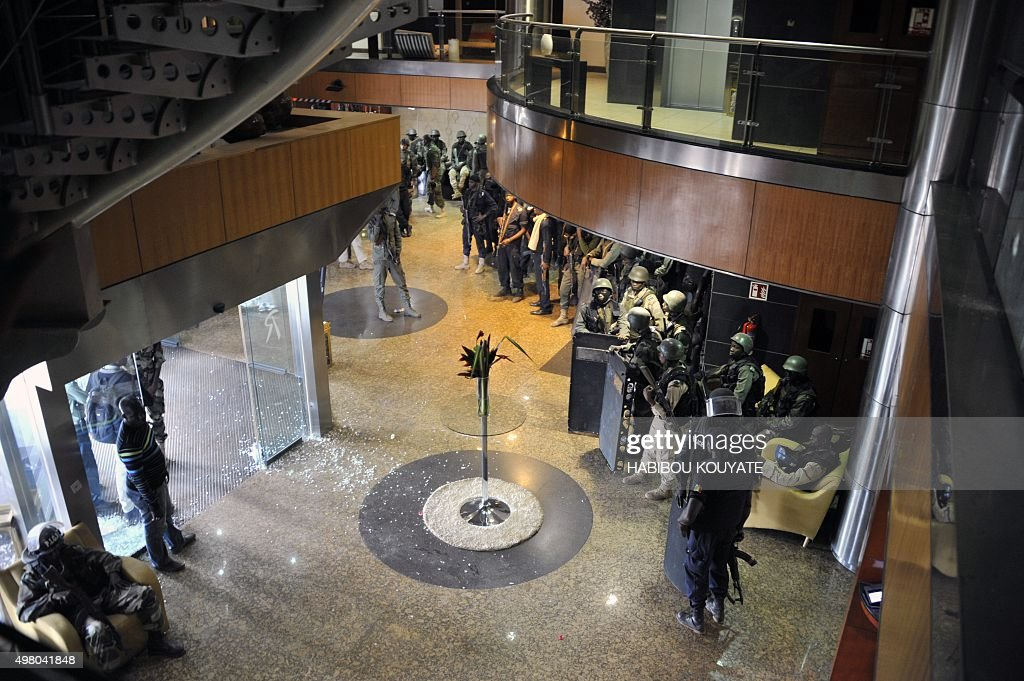 Members of special forces are seen inside the Radisson Blu hotel in Bamako on November 20 after the assault of security forces Suspected Islamist...