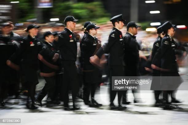 Members of St John march during Anzac Day dawn service at Pukeahu National War Memorial Park on April 25 2017 in Wellington New Zealand In 1916 the...