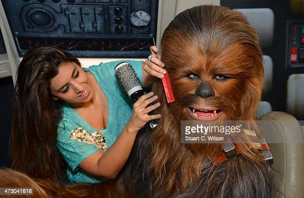 Members of staff makes last minute touch ups of wax figure Chewbacca from Star Wars on display at 'Star Wars At Madame Tussauds' on May 12 2015 in...