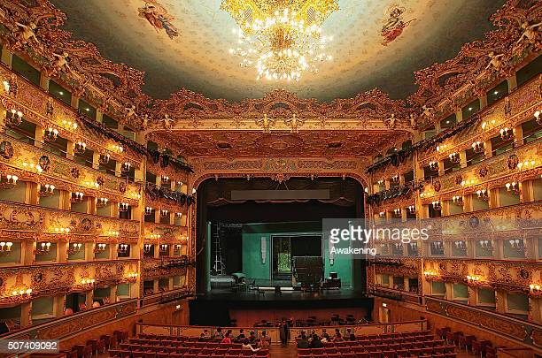 Members of staff work near the stage on the 20th anniversary of the fire that destroyed La Fenice Theatre on January 29 2016 in Venice Italy On the...