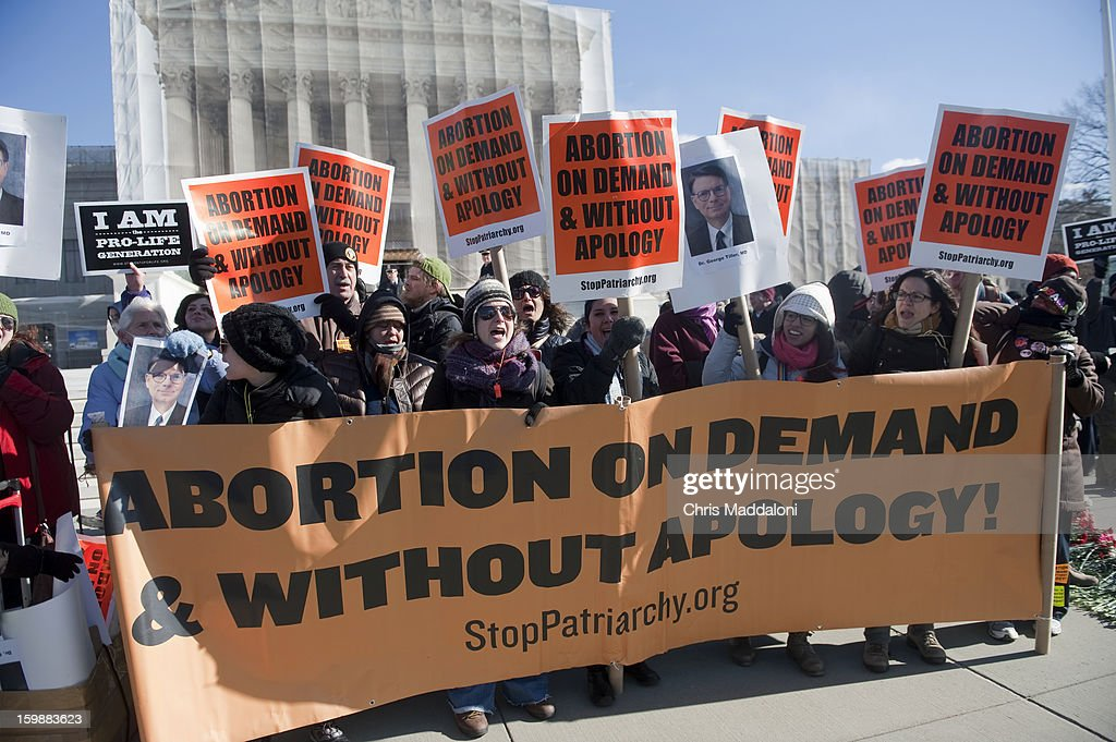 Members of 'Stop Patriarchy' demonstrate to support legal abortions in front of the Supreme Court. Today is the 40th anniversary Tuesday of Roe vs. Wade, the landmark U.S. Supreme Court decision that legalized abortion.