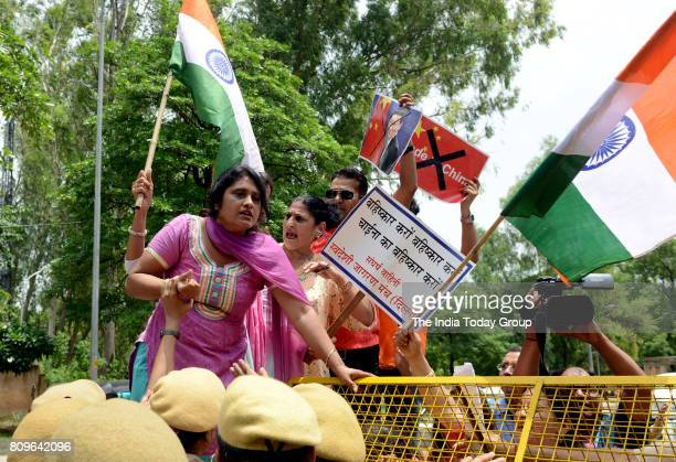 Members of Swadeshi Jagaran Manch during a protest against China near Chinese embassy in New Delhi on TuesdayThe demonstration was held after Chinese...