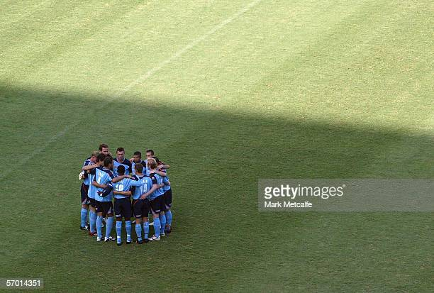 Members of Sydney FC huddle before the the Hyundai ALeague Grand Final between Sydney FC and the Central Coast Mariners played at Aussie Stadium...