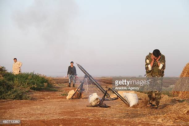 Members of Syrian opposition Fatah forces are seen as they prepare to fight against Daesh in Tal Jibbin region in northern Aleppo Syria on October 14...