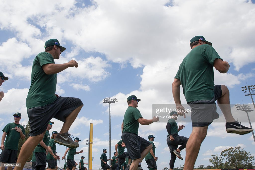 Members of Team Australia warm-up during the workout for the World Baseball Classic Qualifier at Blacktown International Sportspark on Tuesday, February 9, 2016 in Sydney, Australia.