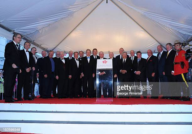 Members of Team Canada 1972 from the Summit Series of ice hockey matches attend the 2012 Canada's Walk of Fame Awards at Ed Mirvish Theatre on...