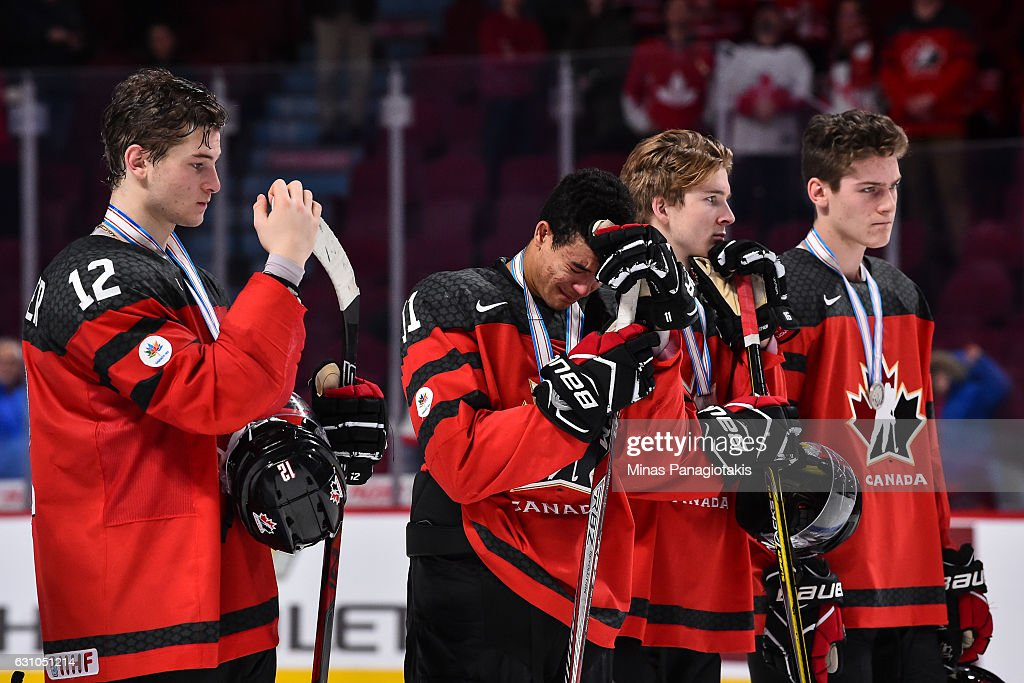 Members of Team Canada react after losing to Team United States during the 2017 IIHF World Junior Championship gold medal game at the Bell Centre on January 5, 2017 in Montreal, Quebec, Canada. Team United States defeats Team Canada 5-4 in a shootout and wins the gold medal round.