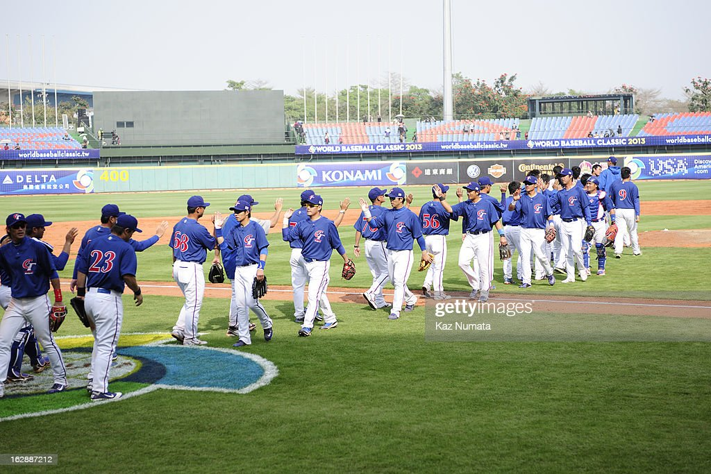 Members of Team Chinese Taipei celebrate defeating the NC Dinos in the World Baseball Classic exhibition game at Taichung Intercontinental Baseball Stadium on Thursday, February 28, 2013 in Taichung, Tawain.