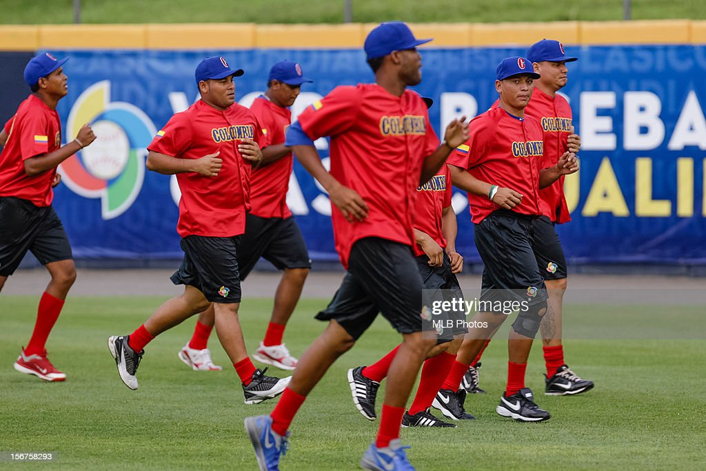 Members of Team Colombia loosen up on the field before Game 5 of the Qualifying Round of the World Baseball Classic against Team Panama at Rod Carew National Stadium on Sunday, November 18, 2012 in Panama City, Panama.